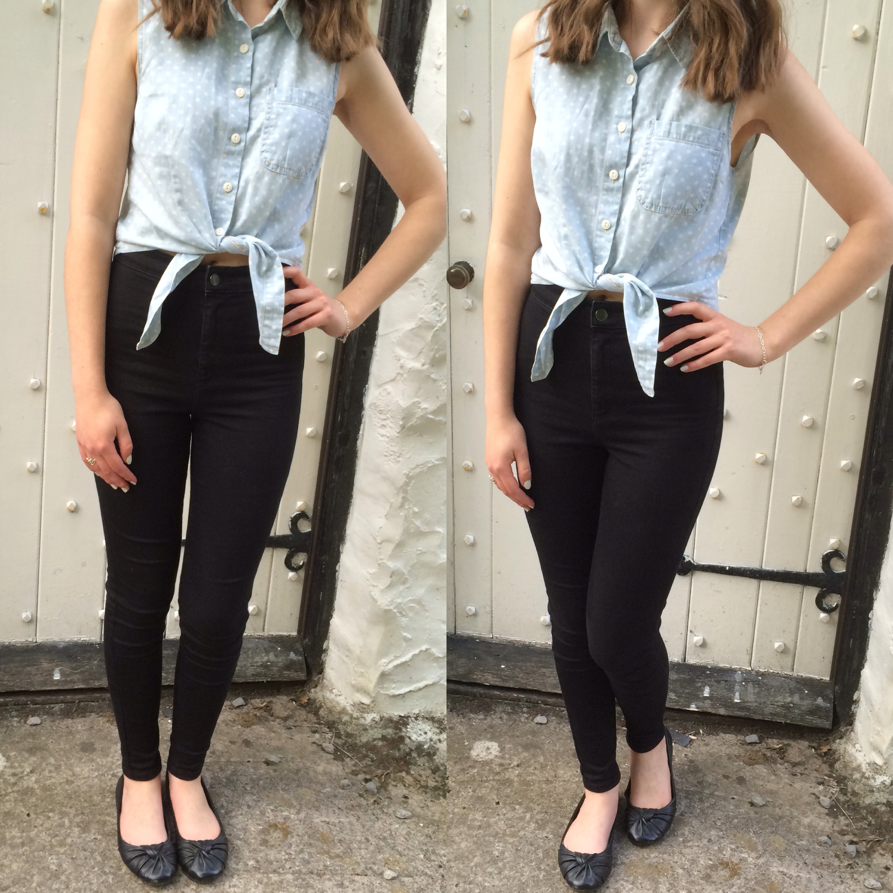 Two photos of my outfit - I'm wearing black skinny jeans, a cropped blue top with white polka dots and a tie at the front with a pair of black flat shoes