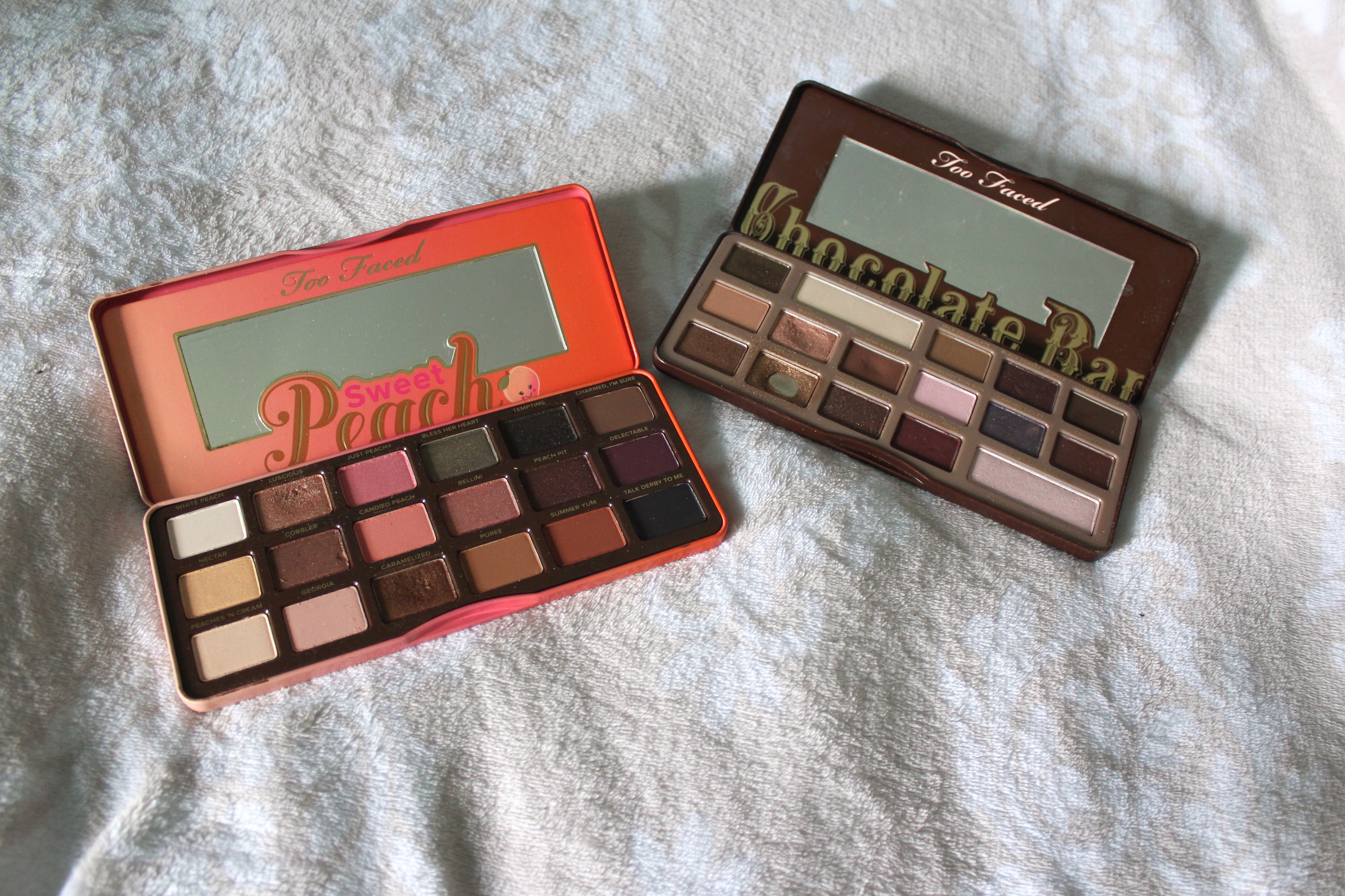 Too Faced Chocolate bar palette and Sweet peach palette