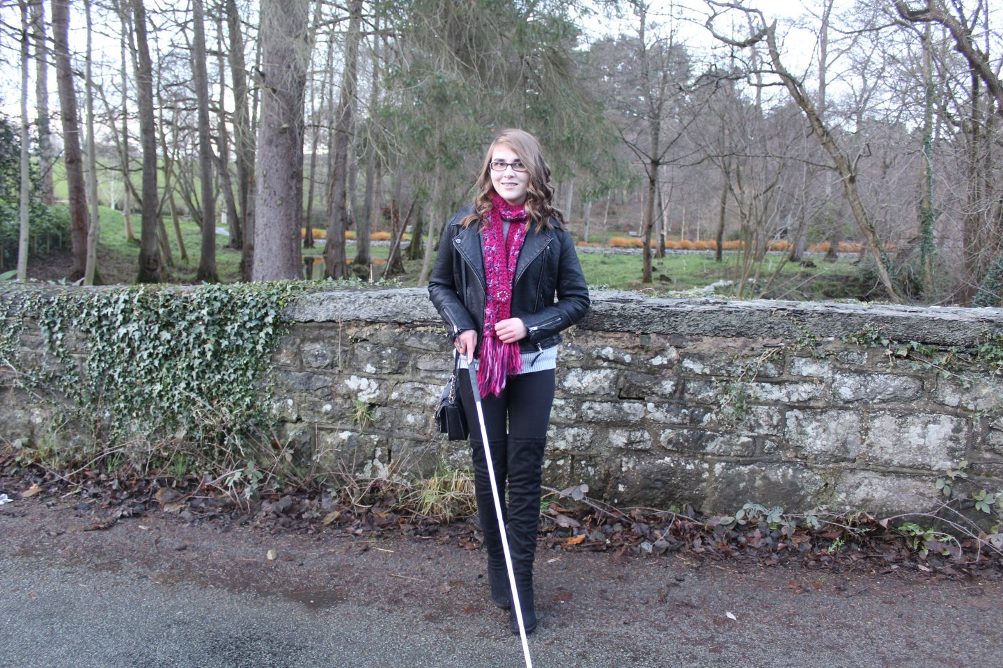 A photo of Elin and her cane
