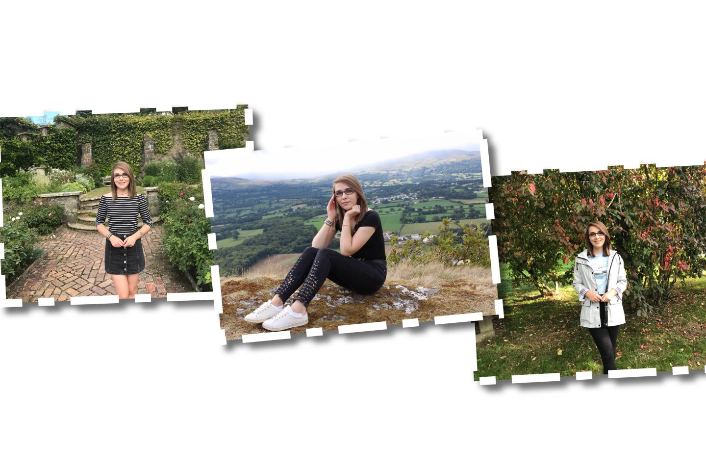 Three different photos of Elin, one is of her in a black denim skirt and striped bardot top standing on a cobbled street, the second is of her sitting on a grassy hill in front of a view of the mountains and the third is of her standing in front of a tree which has pink flowers on it