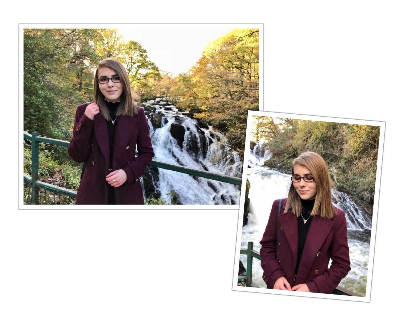 Two photos of Elin, she is looking at the camera in one and is looking down in another