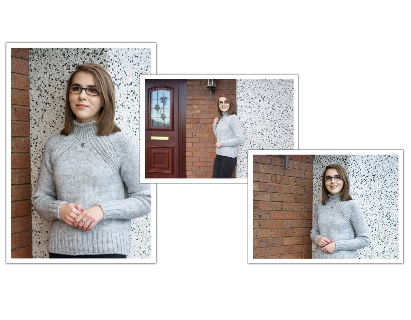 Three photos of Elin overlaying each other, she is wearing a high neck light grey knitted jumper and black skinny jeans